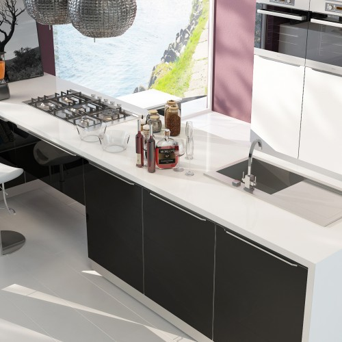 Entertain your friends in a hip kitchen and living space